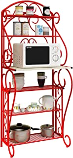 HOME BI 5-Tier Kitchen Bakers Rack Microwave Stand Kitchen Cart with Red Finish Shelves Spice Rack Organizer Workstation