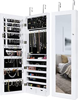 Greenco Over The Door Organizer Armoire with Large Mirror and Led Light, Lockable, White
