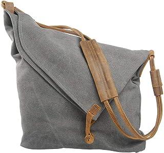 Casual Crazy Horse Leather Canvas Crossbody Messenger Bag Classic Retro Shouder Weekender Bag For Unisex (Dark Grey)