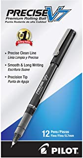 Pilot Precise V7 Stick Liquid Ink Rolling Ball Stick Pens, Fine Point, Black Ink, 12 Count (35346)