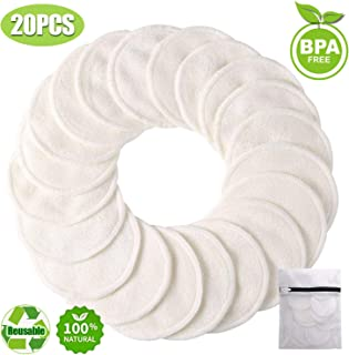 Reusable Make-up Remover Pads, Cotton Rounds 20-Pack, Organic Bamboo Cloth Wipes for Eyes Face lips, Travel Facial Cleansing Towel Scrubber for Sensitive,Oily,Dry Skin, Eco Natural Washable Toner Pads