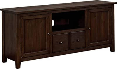 Benjara Wooden TV Stand with 2 Storage Cabinets and Chamfered Legs, Brown