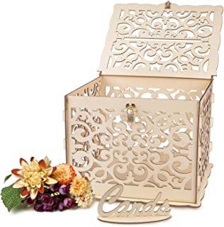 Hiverst Wedding Card Box with DIY Color, Rustic Card Box with Lock, Key, and Lid, Large Capacity, Perfect for Wedding Reception and Wedding Anniversary(Loop