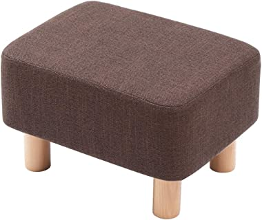 Footrest Footrest Footrest Ottoman Ottoman Upholstered Rectangular Chair with Beech Wood Legs and Removable Linen Cover (Brow