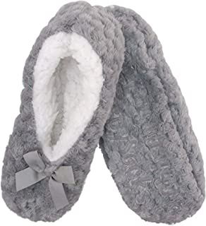 Adult Super Soft Warm Cozy Fuzzy Soft Touch Sleeper Slippers Non-Slip Lined Socks