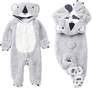 Feidoog Kids Boys Girls Winter Cartoon Bear Hooded Romper Jumpsuit Toddler Clothing Bodysuit