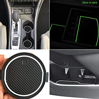 Auovo Anti Dust Mats for Subaru Ascent 2019 Custom Fit Door Compartment Liners Cup Holder Console Liners Interior Accessories(24pcs/Set)(White,Glow in Dark)
