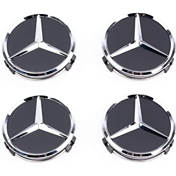 Lot de 4 Cache-moyeux AMG pour Mercedes-Benz Noir Mat /Étoile Moyeu 75 mm