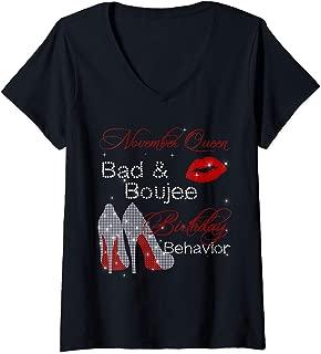 Womens November Queen Bad & Boujee Birthday Behavior Birthday V-Neck T-Shirt