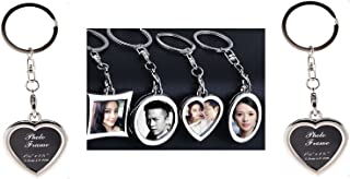 Garloy Photo Frame Keychain Set Mini Creative Metal Alloy Buckle Insert Photo Picture Frame-Keyring Keychain Car Key Chain Ring Keyfob Gift (Heart-Shaped,Pack of 2)