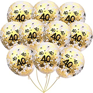 BudiCool 40th Birthday Decorations 12 Inches Gold Confetti Balloons for Happy Birthday Party Supplies 40th Anniversary Decorations(Pack of 16)