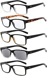 Eyekepper 5-Pack Spring Hinges Vintage Reading Glasses Men Includes Sunshine Readers
