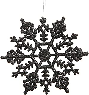Club Pack of 24 Jet Black Glitter Snowflake Christmas Ornaments 4""