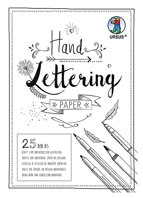 Ursus 24929201 Handlettering Paper Pad with 25 Sheets Coloured Card 200 g/m2 DIN A5 for Customising White