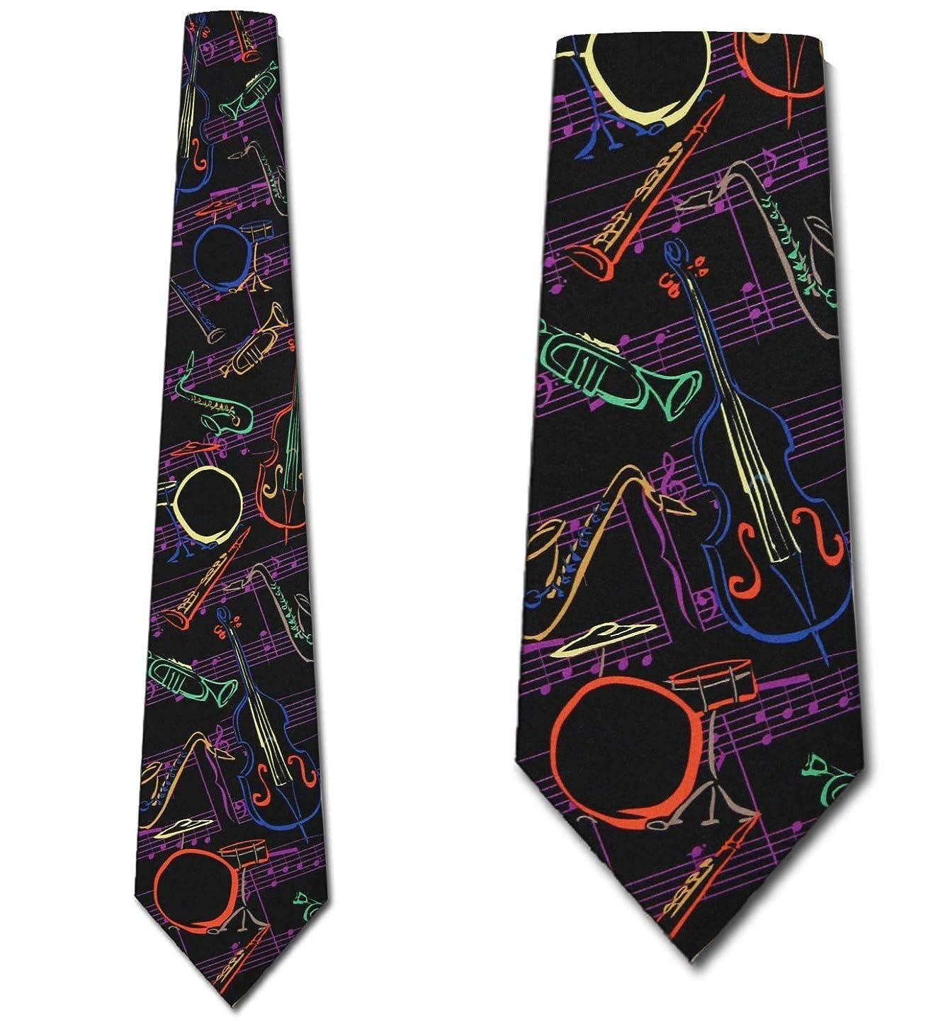 Jazz Instruments Tie Mens Music Neckties by Three Rooker