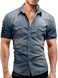 Men's Casual Shirts Summer Short Sleeve Turn-Down Slim Fit Button with Pocket Tops Blouse