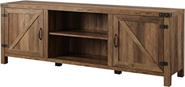 Walker Edison Georgetown Modern Farmhouse Double Barn Door TV Stand for TVs up to 80 Inches, 70 Inch, Rustic Oak