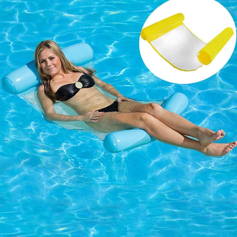 Orville - Tumbona hinchable para piscina, hamaca de agua para playa, verano, para adultos, cómodo flotador, piscina, sofá de aire, amarillo: Amazon.es: Deportes y aire libre