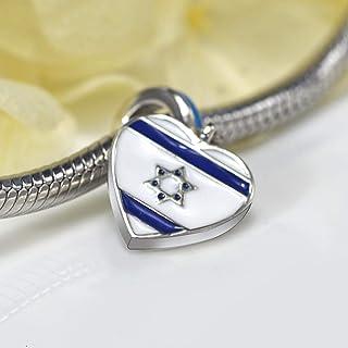 tajia 100%925スターリングシルバーブルーホワイトエナメルハート型イスラエル国旗チャームブレスレット女性用ジュエリーギフト