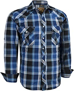 Men's Long Sleeve Casual Western Plaid Snap Buttons Shirt