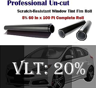 "NANO CARBON WINDOW TINT FILM VLT 5/% BLACK 60/"" X 100 FT 75/% INFRARED REJECTION"