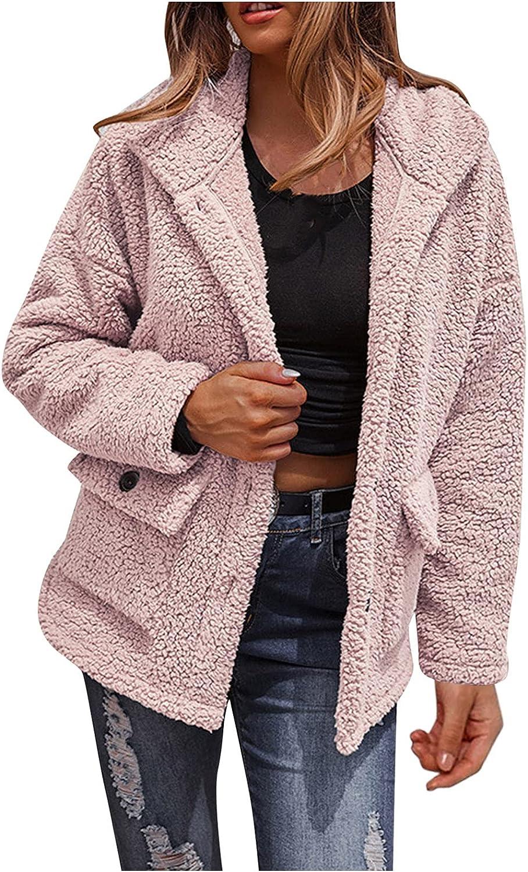Aniywn Women's Faux Fur Coat Fuzzy Cardigan Warm Fleece Jacket Long Sleeve Button Down Winter Outwear Pockets Coat