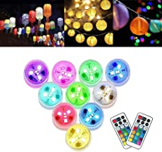 10Pack Paper Lantern Party LED Lights Battery Powerd Mini Hanging RGB Multi Color Submersible Xmas Light with Rmote Contro...