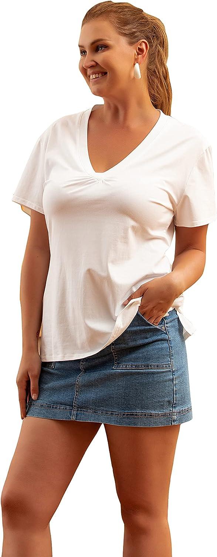 NiYaDress Deep V Neck Cotton T Shirts for Women Work Casual Travel
