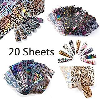 Leopard Nail Foil Transfer for Women 20 Sheets Holographic Nail Art Foil Mixed Laser with Transparent Leopard Stickers DIY Nail Art Designs Manicure Decoration