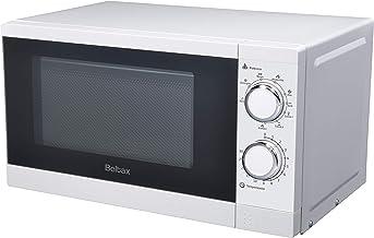 Microondas con Grill BELTAX BMO1220G, 20L, 900W Grill, 6 niveles de Potencia, Plato giratorio de 25,5cm, Color: Blanco