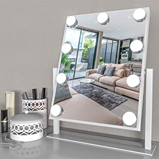 Fenair Large Vanity Mirror With Lights - Hollywood Style Makeup Vanity Mirror with Lights,3 Color Lighting Model, Cosmetic Mirror with 9 Detachable Dimmable Bulbs for Dressing Table(White)