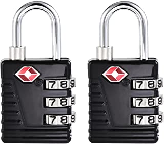 uxcell TSA Approved Luggage Locks 3-Digit Combination Travel Padlock Zinc Alloy Black 54x27x13mm 2Pcs