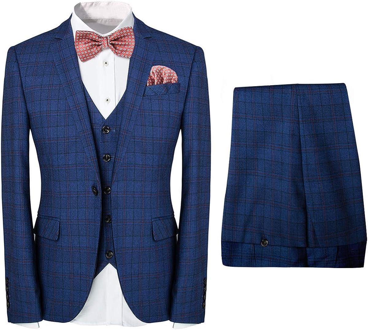 Frank Men's 3-Piece Plaid Suit Set Modern Fit Jacket Tux Blazer Vest Pants