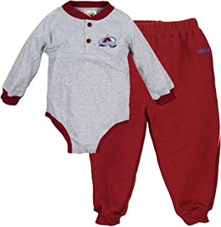 Mighty Mac Colorado Avalanche NHL Babu Boys Infants Long Sleeve Creeper with Matching Pants Set, Grey & Maroon