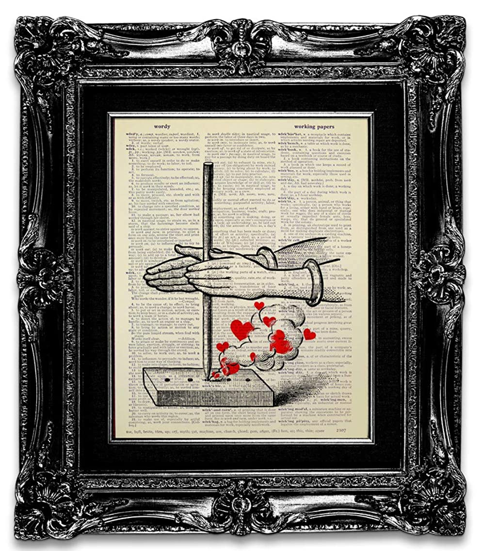 Seeking Love, Recycled Vintage Dictionary Art Print Printed on Upcycled Paper Page 8x10 Unframed, Mixed Media Poster Artwork, Funny Unique Great Love Gift, Red Heart Living Room Decor