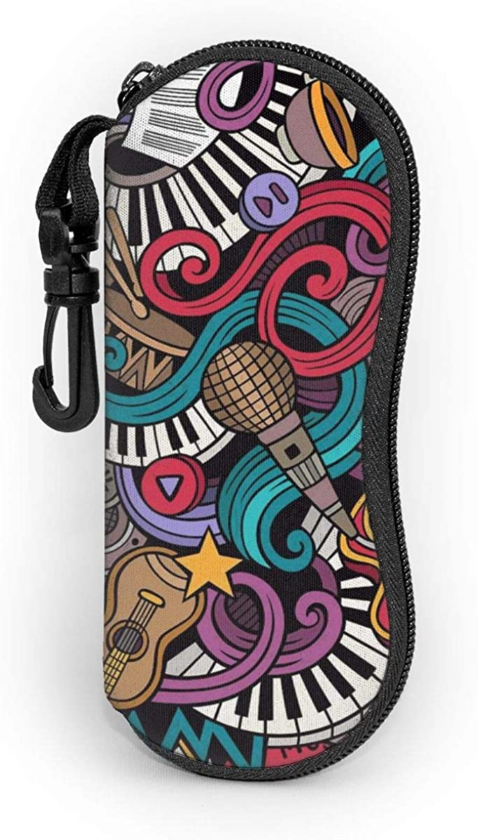 CHILL·TEK Music Colorful Doodles Eyeglasses Case With Carabiner - Lightweight | Portable | Soft | Neoprene Zipper Sunglasses Case