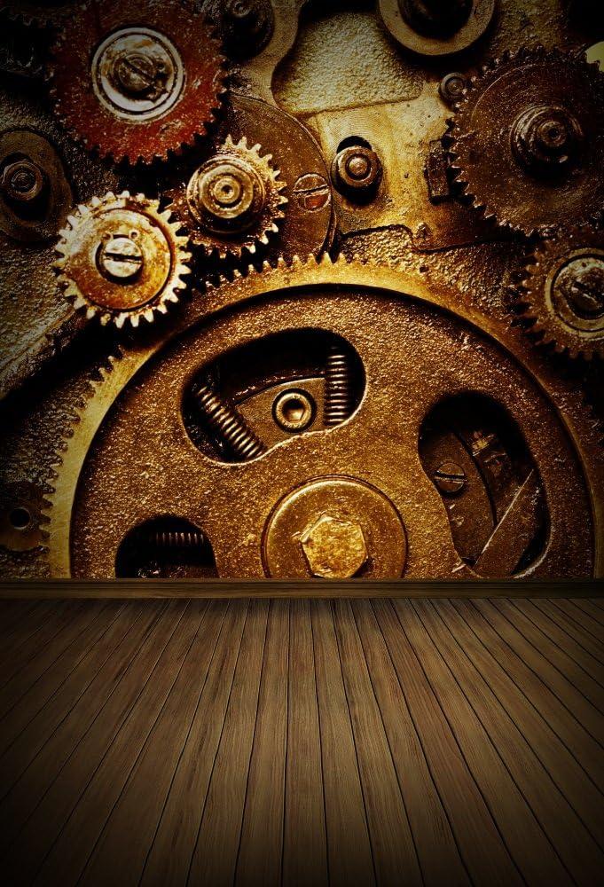 12x12ft Polyester Rusty Steampunk Background Vintage Metallic Bronze Clockwork Gears Photo Backdrop Adults Mens Portrait Photography Props Photo Studio Back Drop No Wrinkle