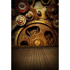 Hasdrop Steampunk Backdrop 7X5FT Vinyl Grunge Old Factory Backdrops Rusty Machine Weathered Wallpaper Photography Background for Interior Room Decoration Personal Portraits Photo Studio Props HXM674