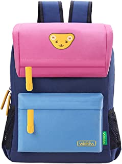 Willikiva Cute Bear Kids School Backpack for Children Elementary School Bags Girls Boys Bookbags (Pink/Wathet Blue/Royalblue, Medium)