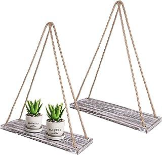 TIMEYARD Wall Hanging Shelf Set of 2 – White Distressed Wood Jute Rope Floating..