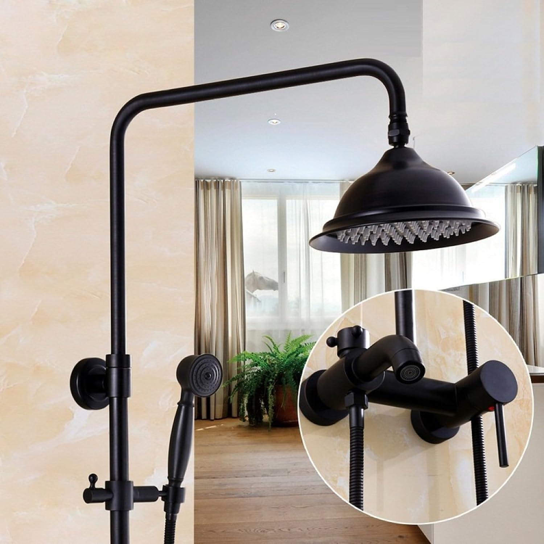 LD&P Dusche Wand Systeme-Badezimmerdusche set verstellbare Regendusche Messingkopf-schwarz, Silikon-Düsen ,D
