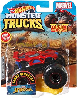 Hot Wheels Monster Trucks Spider-Man Character Vehicle - Connect and Crash Car Included 30/50 1:64 - Red and Black Vehicle with Giant Wheels