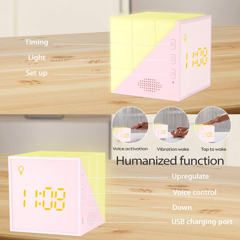 OVAERO Digital Clock Wecker Schlafzimmer Rosa Cube Mini-Wecker Mit Timing Led Nachtlicht USB F/ür Studenten Kind Wecker Elektronischer Kleiner Kreative