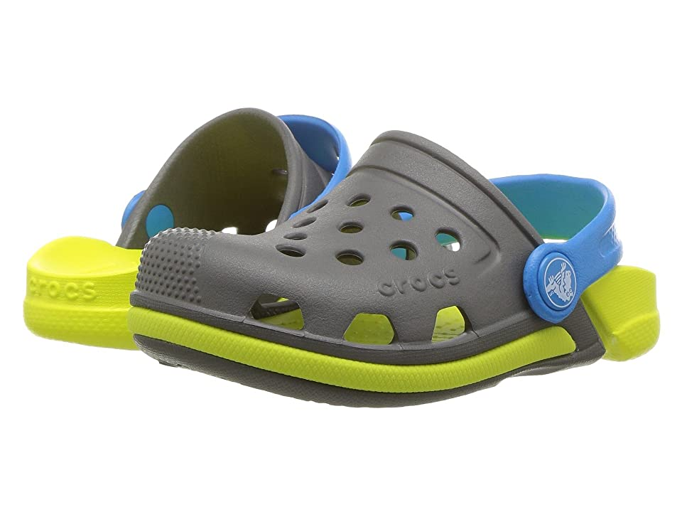 Crocs Kids Electro III Clog (Toddler/Little Kid) (Slate Grey/Tennis Ball Green) Kids Shoes