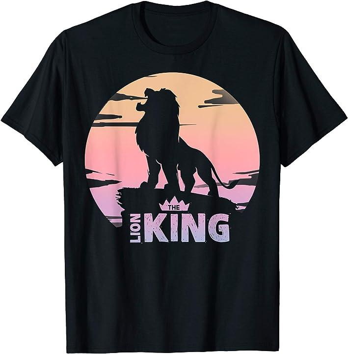 Disney Lion King Simba Crown Logo Gradient Sunset Silhouette T-Shirt