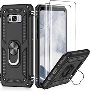 Samsung Galaxy S8 Plus Case with 3D PET Screen Protector [2 Pack], LeYi [Military Grade] Shock Absorption Defender Protective Phone Case with Car Holder Mount Kickstand for Samsung S8 Plus JSFS Black