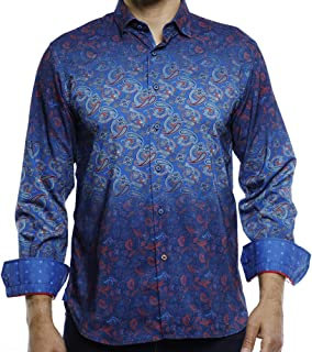 Luchiano Visconti Black Men/'s Long Sleeve Shirt Bright Blue Flocked #3968