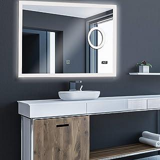 Aquamarin® Miroir de Salle de Bain LED - CEE: A++, Tactile, Mural, Horloge Numérique, 3 en 1 Éclairage Blanc Froid/Chaud/N...