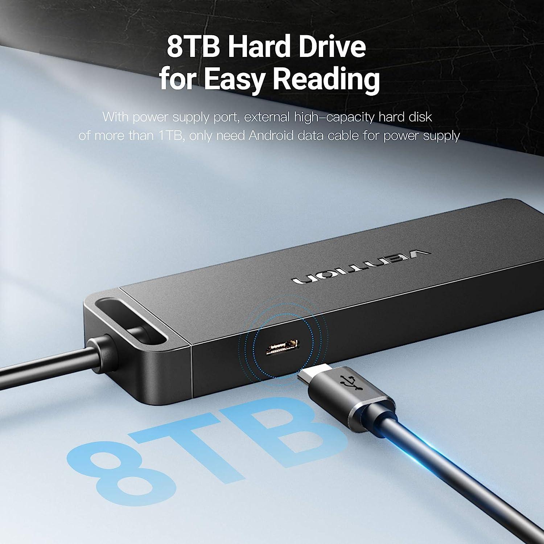 Vention USB 3.0 HUB 4-Port-USB-Splitter mit Ladeanschluss f/ür Notebook-PC USB-Flash-Laufwerke 0.5M Mobile Festplatte f/ür Surface Pro XPS