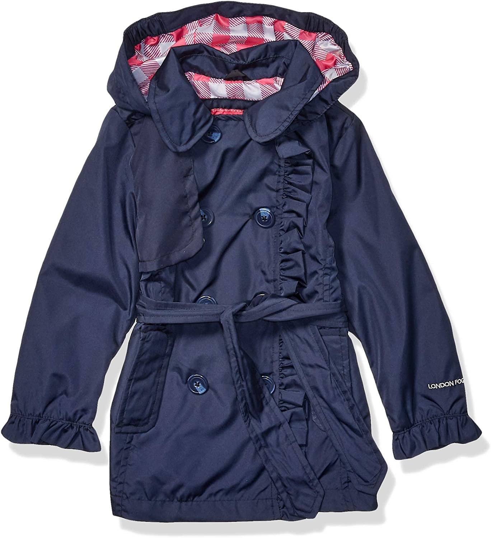 LONDON FOG Girls' Little Lightweight Trench Dress Coat Jacket, True Navy, 4